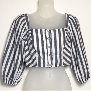 NWOT CAD Striped Button Front Cropped Top